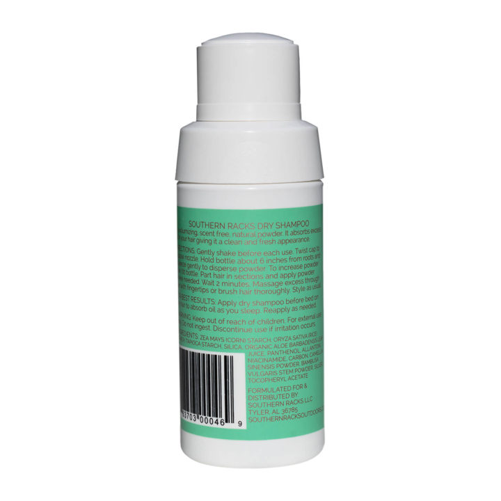 Southern Racks Scent Free Dry Shampoo (bottle back)